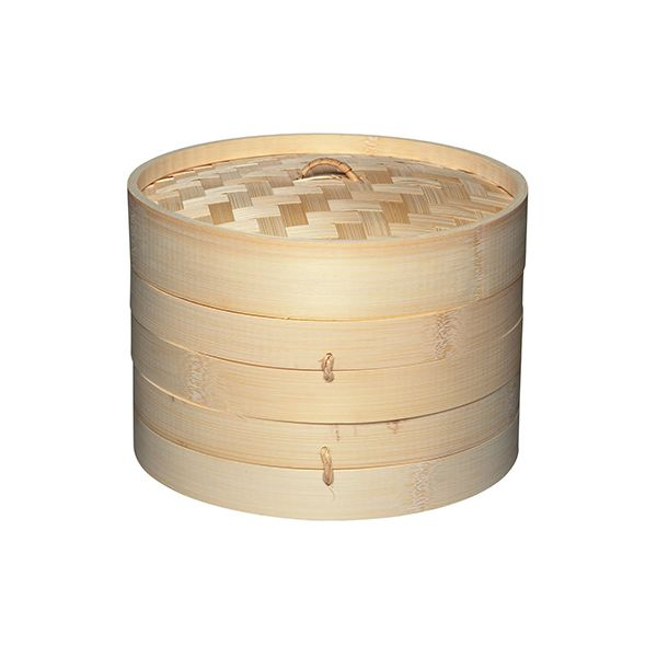 World Of Flavours Oriental Two Tier Medium Bamboo Steamer and Lid