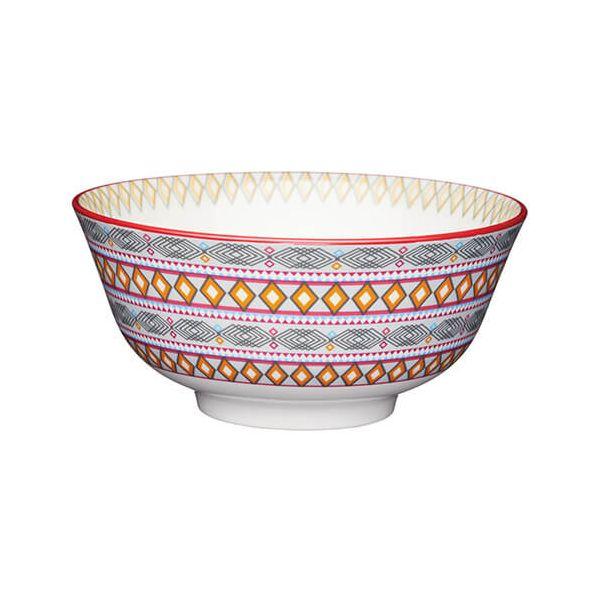 KitchenCraft Glazed Stoneware Bowl Bright Geometric