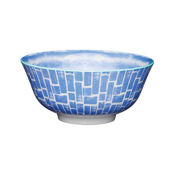 KitchenCraft Glazed Stoneware Bowl Blue Watercolour