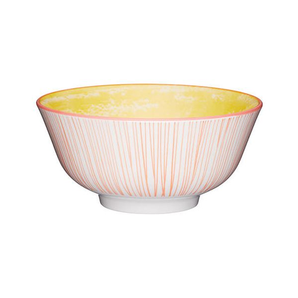 KitchenCraft Glazed Stoneware Bowl Yellow Swirl