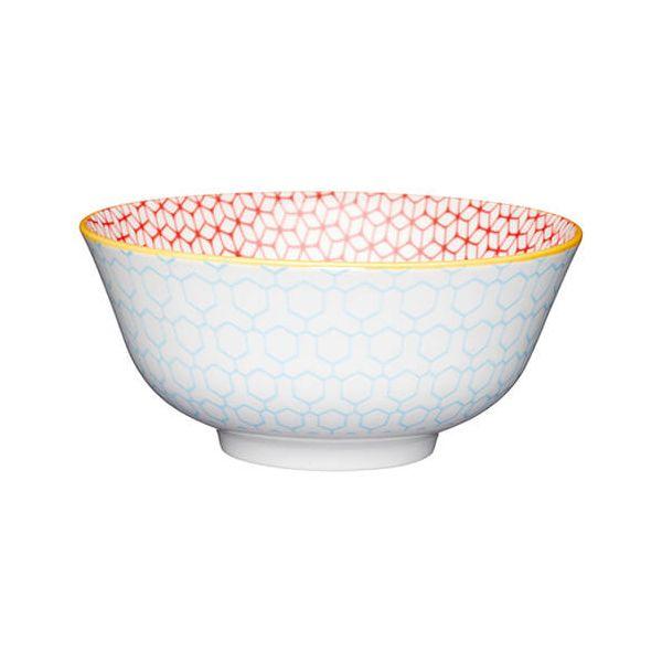 KitchenCraft Glazed Stoneware Bowl Geometric Blue