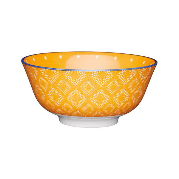 KitchenCraft Glazed Stoneware Bowl Orange Spot