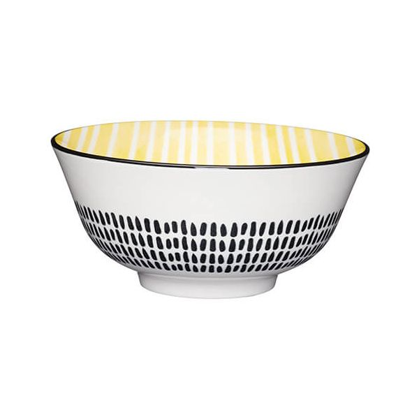 KitchenCraft Glazed Stoneware Bowl Yellow Stripe
