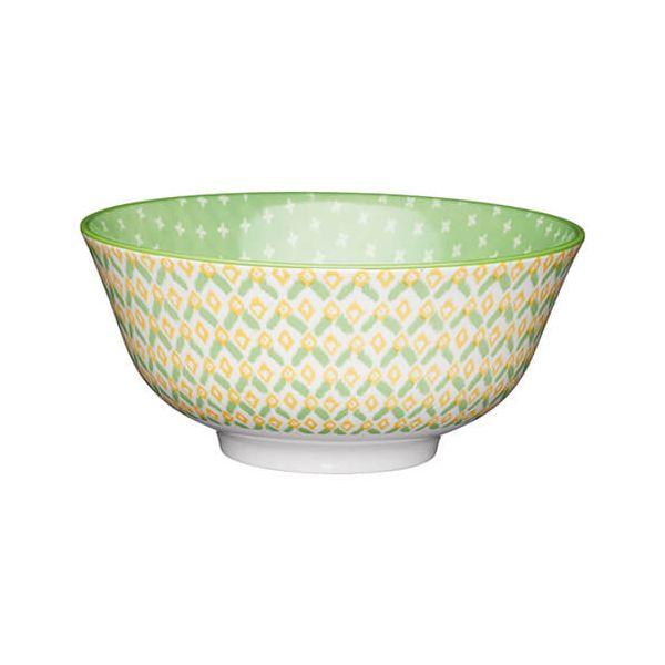 KitchenCraft Glazed Stoneware Bowl Green Geometric