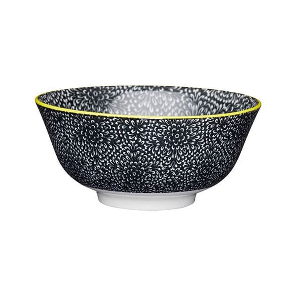 KitchenCraft Glazed Stoneware Bowl Black Floral