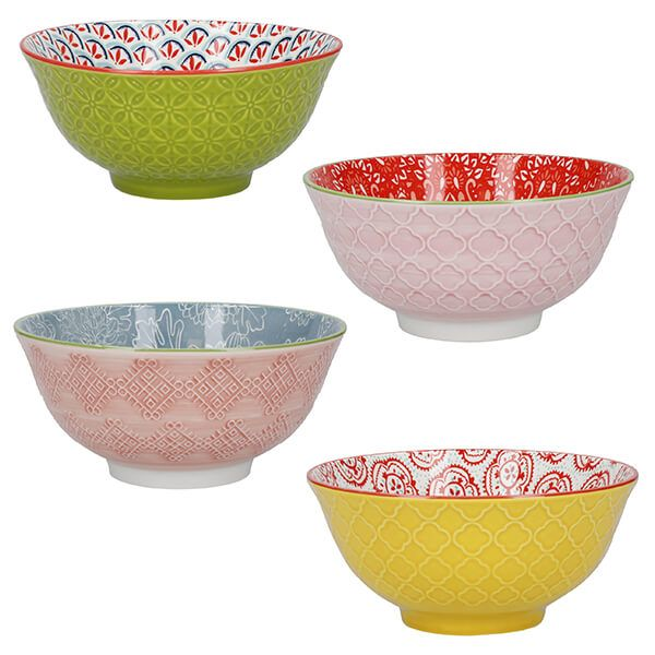 KitchenCraft Brights Glazed Stoneware Bowl Set of 4