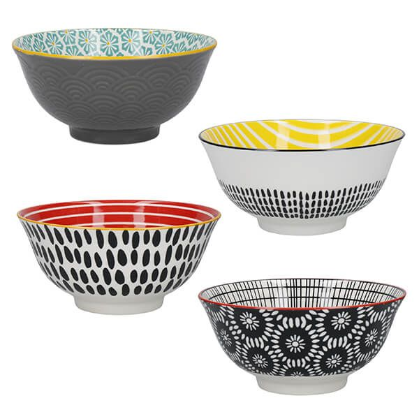 KitchenCraft Monochrome Glazed Stoneware Bowl Set of 4