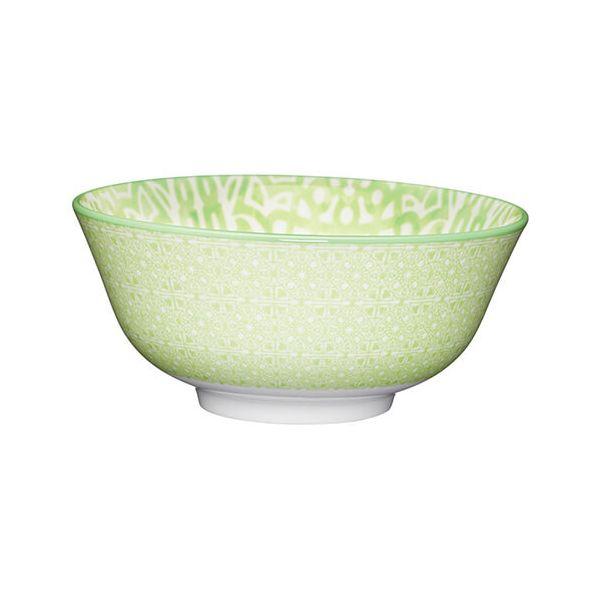 KitchenCraft Glazed Stoneware Bowl Green Tile