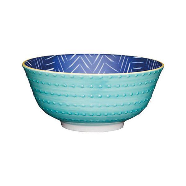 KitchenCraft Glazed Stoneware Bowl Leafy Indigo