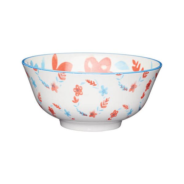KitchenCraft Glazed Stoneware Bowl Painted Floral