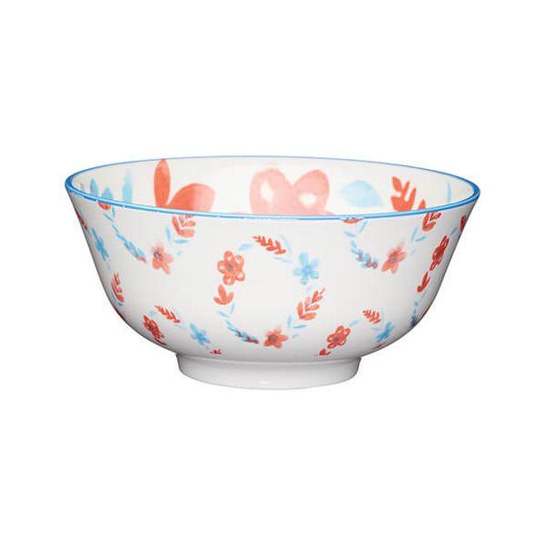KitchenCraft Glazed Stoneware Bowl Painted Floral