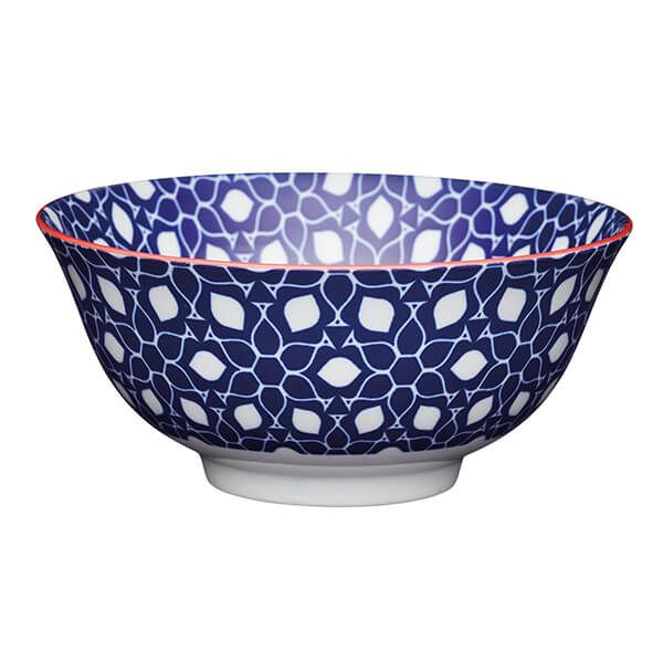 KitchenCraft Blue Floral Geometric Print 15.7cm Ceramic Bowl