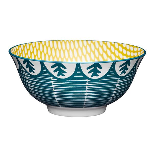 KitchenCraft Leafy Green Print 15.7cm Ceramic Bowl