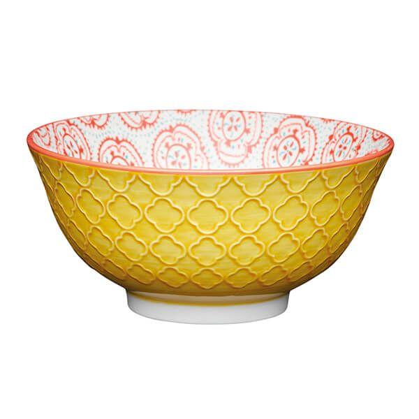 KitchenCraft Bright Yellow Floral 15.7cm Ceramic Bowl