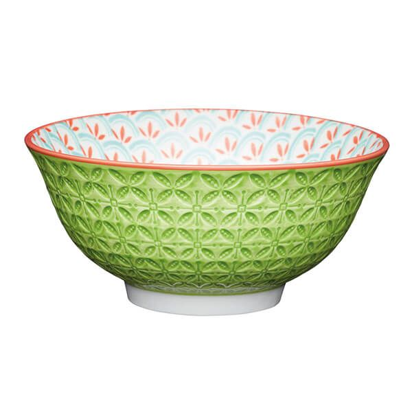 KitchenCraft Bright Green Geometric Print 15.7cm Ceramic Bowl