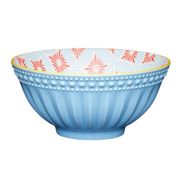 KitchenCraft Pale Blue Detailed 15.7cm Ceramic Bowl