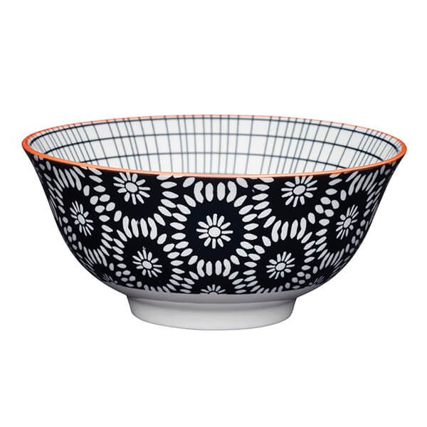 KitchenCraft Black Swirl Centred 15.7cm Ceramic Bowl