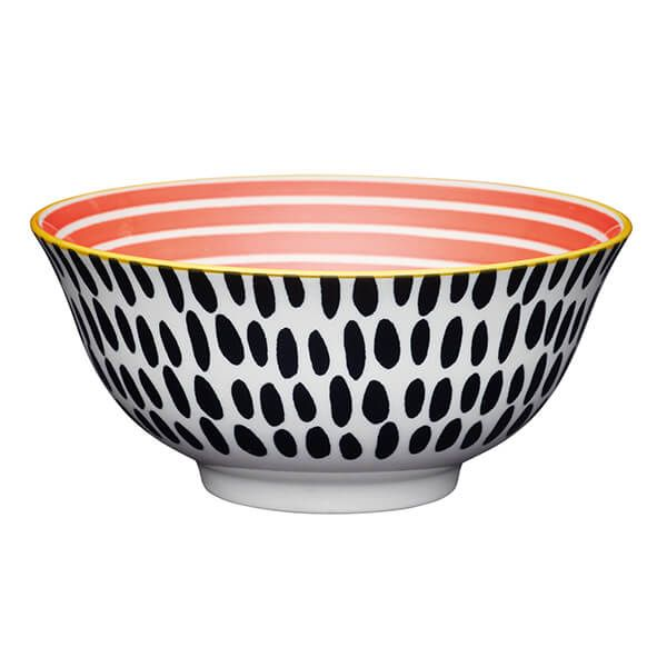 KitchenCraft Red Swirl and Black Spots 15.7cm Ceramic Bowl