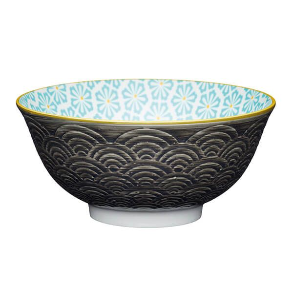 KitchenCraft Grey Arched Pattern 15.7cm Ceramic Bowl