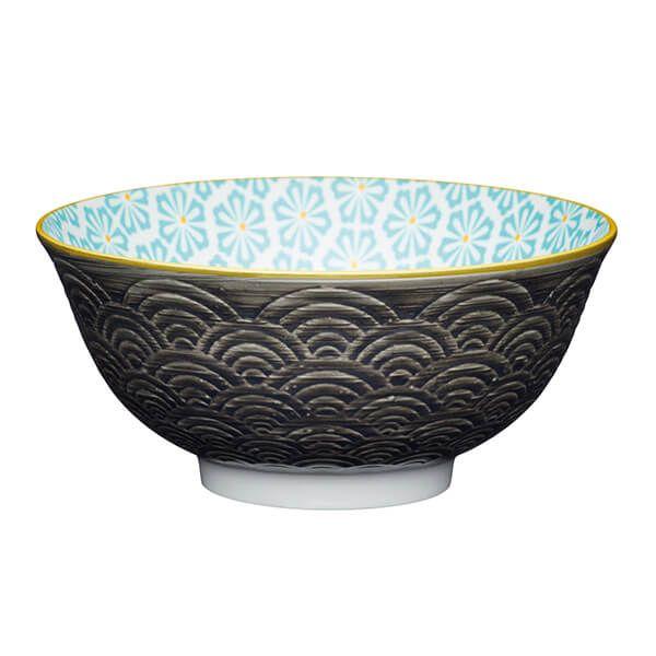 KitchenCraft Grey Arched Pattern 15.7cm Ceramic Bowl