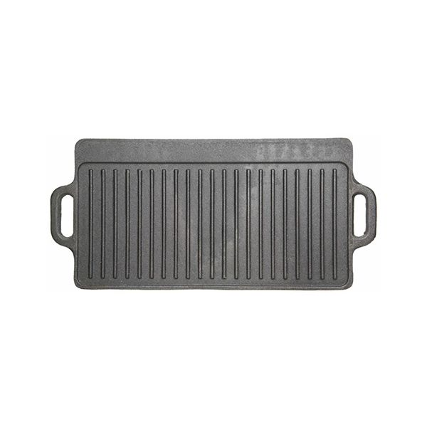 KitchenCraft Deluxe Cast Iron Reversible Griddle 45 x 23cm For BBQ or Hob