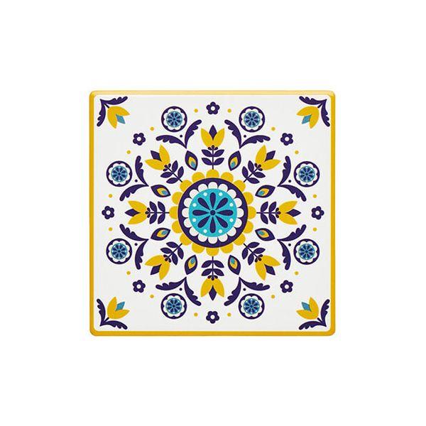 KitchenCraft Moroccan Inspired Mustard Floral Cork Back Ceramic Coaster