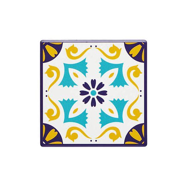 KitchenCraft Moroccan Inspired Mustard Motif Cork Back Ceramic Coaster