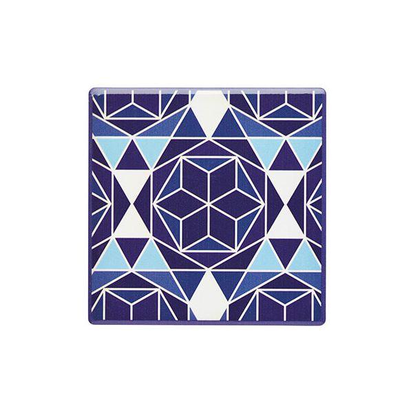 KitchenCraft Moroccan Inspired Blue Geo Cork Back Ceramic Coaster