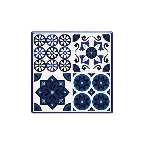 KitchenCraft Moroccan Inspired Blue Tile Cork Back Ceramic Coaster