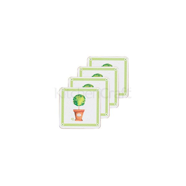 KitchenCraft Herb Pot Cork Back Laminated Set of 4 Coasters