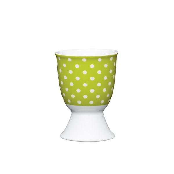 KitchenCraft Green Polka Dot Porcelain Egg Cup