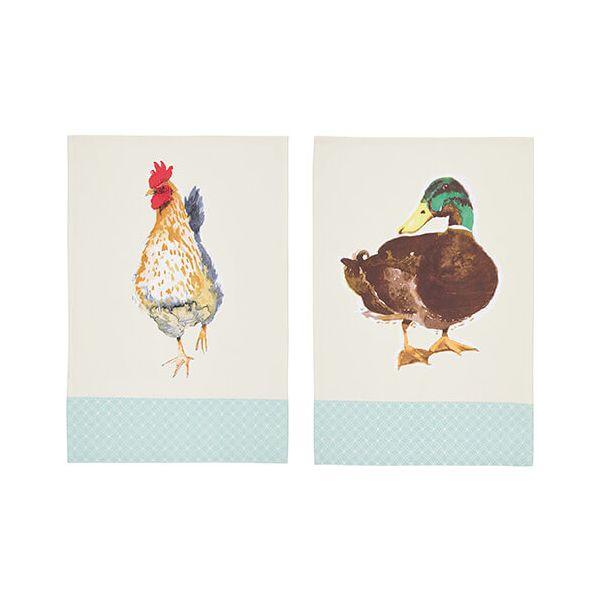 KitchenCraft Farm Animals Tea Towels 2 Piece Set
