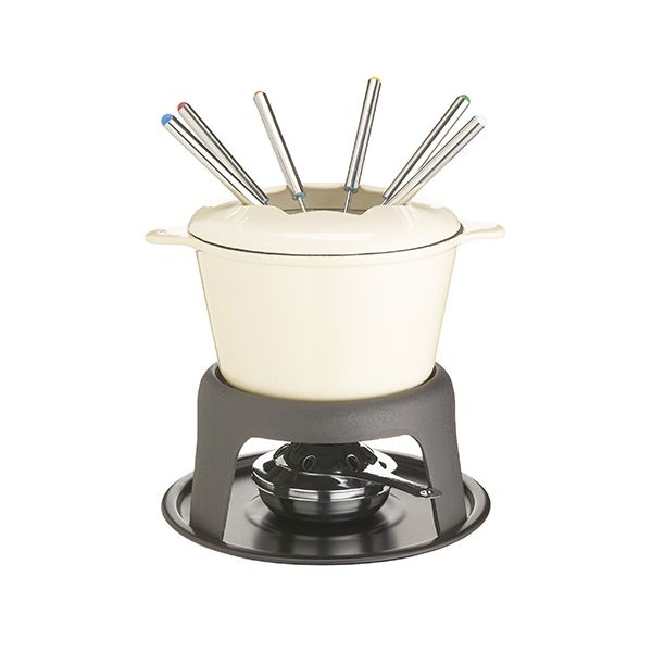 Master Class Cast Iron Enamelled Beige Fondue Set
