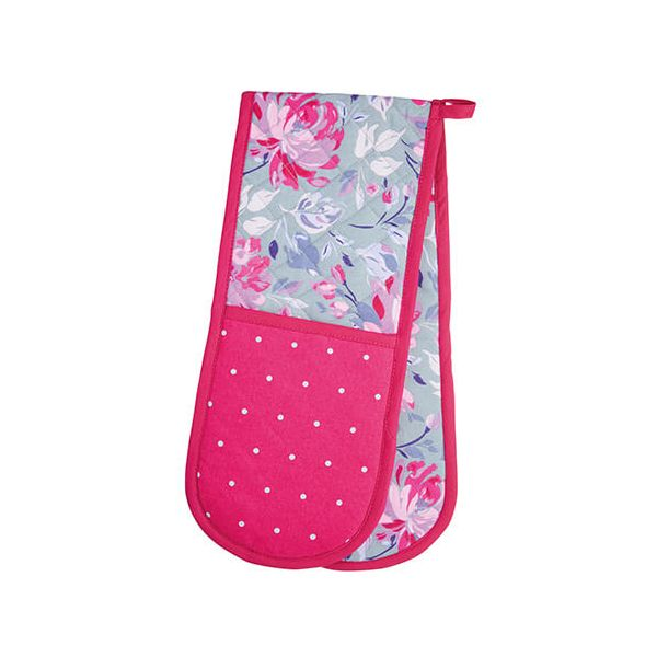 KitchenCraft Grey Floral Double Oven Glove