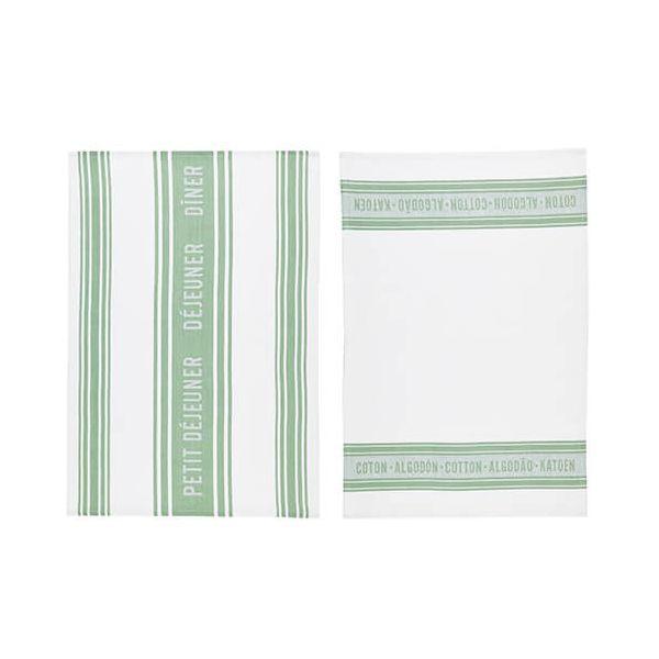 KitchenCraft Jacquard Green Tea Towels 2 Piece Set