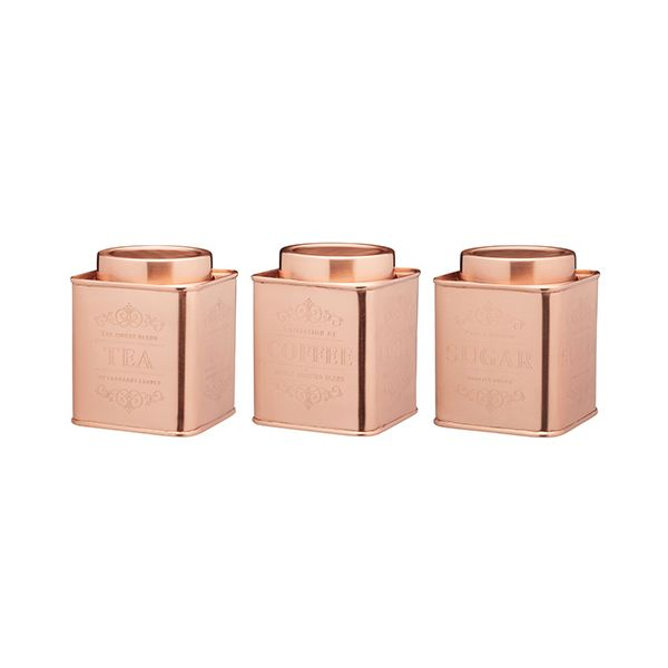 Le Xpress Copper Coffee, Tea & Sugar Set Of 3 Storage Tins