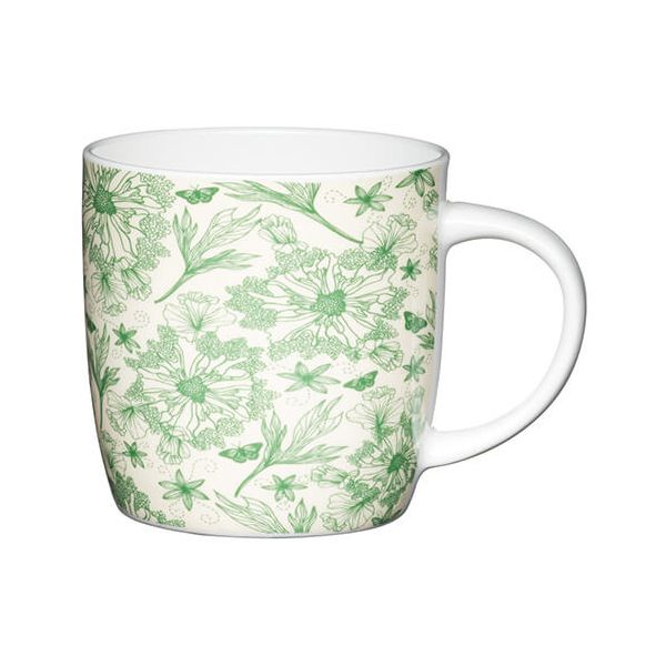 KitchenCraft China 425ml Barrel Shaped Mug, Botanical Leaf