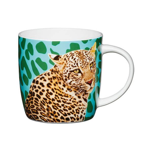 KitchenCraft China 425ml Barrel Shaped Mug, Leopard