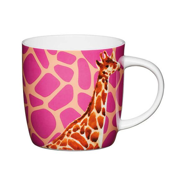 KitchenCraft China 425ml Barrel Shaped Mug, Giraffe