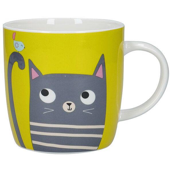 KitchenCraft China 425ml Barrel Shaped Mug, Cat
