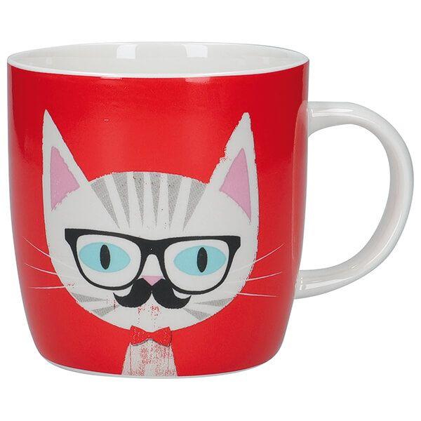 KitchenCraft China 425ml Barrel Shaped Mug, Cat Specs