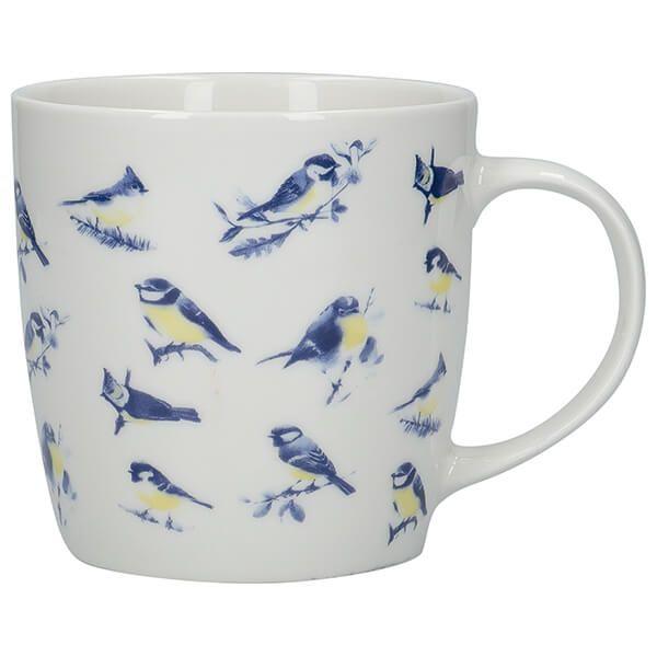KitchenCraft China 425ml Barrel Shaped Mug, British Birds