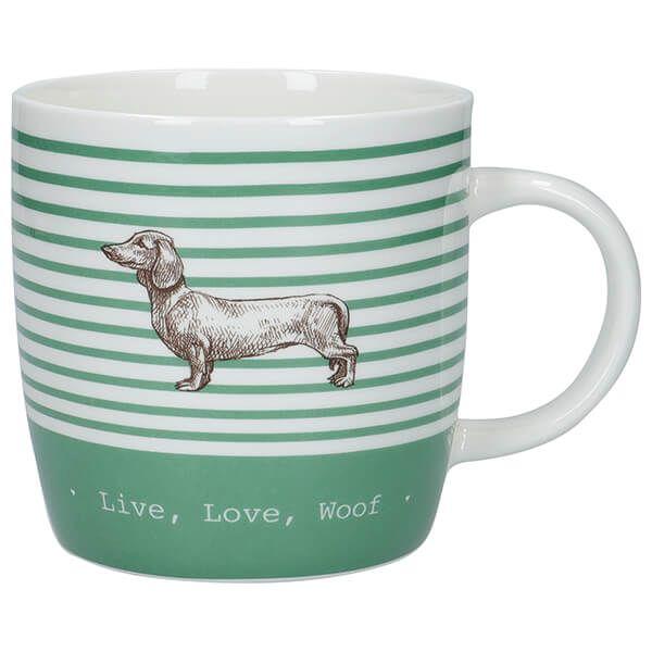 KitchenCraft China 425ml Barrel Shaped Mug, Stripe Dog