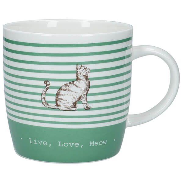 KitchenCraft China 425ml Barrel Shaped Mug, Stripe Cat