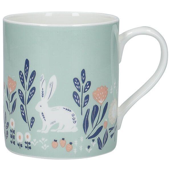 KitchenCraft Fine Bone China 330ml Can Mug, Woodcut Rabbit