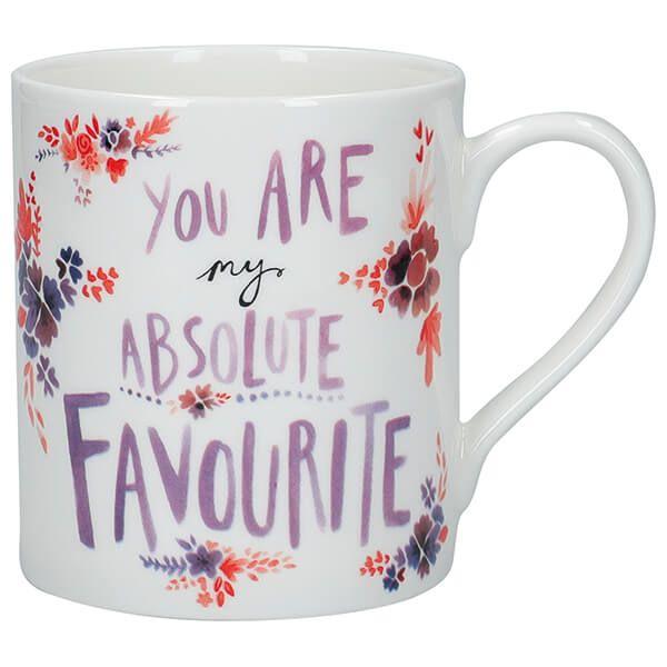 KitchenCraft Fine Bone China 330ml Can Mug, 'Absolute Favourite'