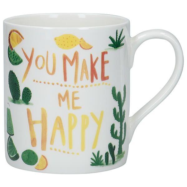 KitchenCraft Fine Bone China 330ml Can Mug, 'You Make Me Happy'