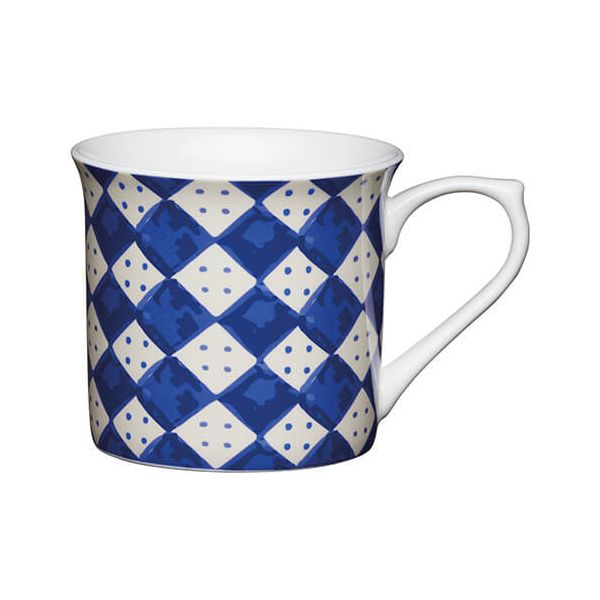 KitchenCraft China 300ml Fluted Mug, Blue Diamonds
