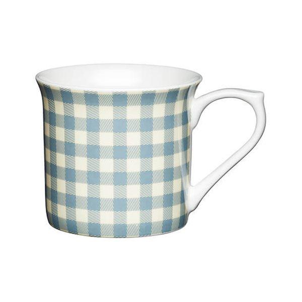 KitchenCraft China 300ml Fluted Mug, Blue Gingham