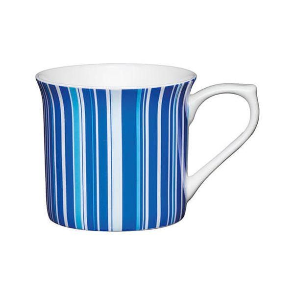 KitchenCraft China 300ml Fluted Mug, Blue Stripe